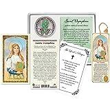 Spanish St Dymphna Prayer Card, Bookmark, Saint Dymphna Pocket Token Coin (English), The Lord's Prayer | Catholic Patron Saint of Anxiety, Emotional Disorders, Stress, Mental Problems |4 Items in Set