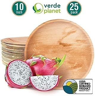 Verde Planet - 10.25 inch Round Palm Leaf Plates - Biodegradable, Ecofriendly, Disposable, Sturdy, Elegant, Premium Quality Plates, USDA Certified - 25 Count