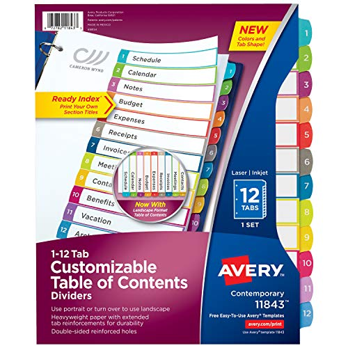 Avery 12 Tab Dividers for 3 Ring Binders, Customizable Table of Contents, Multicolor Tabs, 1 Set (11843)