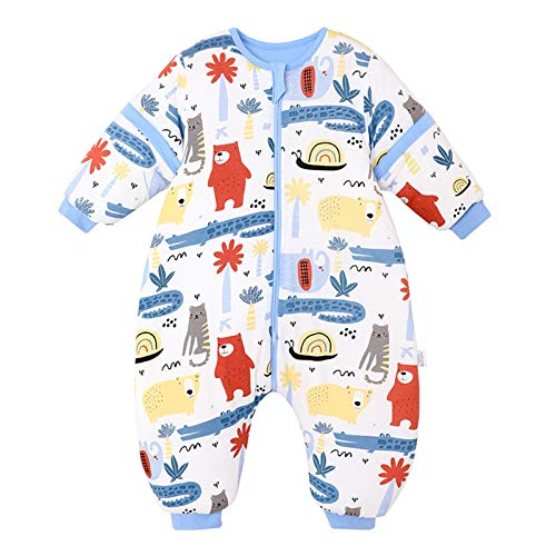 Bebé Saco de Dormir con Piernas Separable Algodón 2.5 TOG Invierno Bolsa de Dormir Mangas Larga Extraíbles para Niños Niñas 6-24 Meses,Thin-1,85-100CM