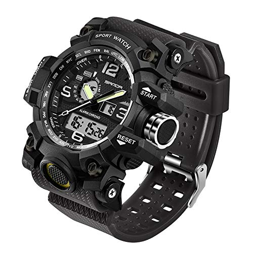 Taffstyle Herren-Armbanduhr Digital mit Silikon-Armband Chronographen Wasserdicht Stopp Alarm Flieger Piloten Uhr Sportuhr Quarz Schwarz