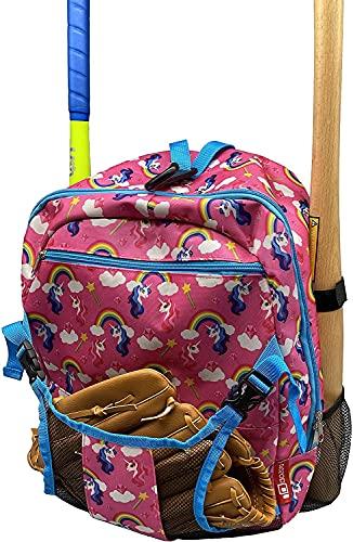 Aozora Youth Tball and Baseball Backpack Bag Lightweight Baseball Bag Hold Bats, Helmet, Glove, Caps, Valuables Pocket, Fence Hook (Pink Unicorn)