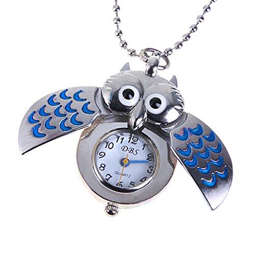 WOW! Mini Eule Halskette Uhr Taschenuhr Silber Blau