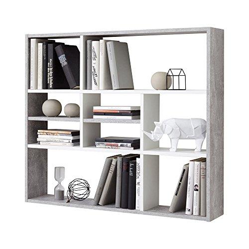 FMD Liberty C11 Libreria a Muro, 90 x 16 x 78.2 H Cm, Grigio, Bianco, Nobilitato, concrete/white, legno