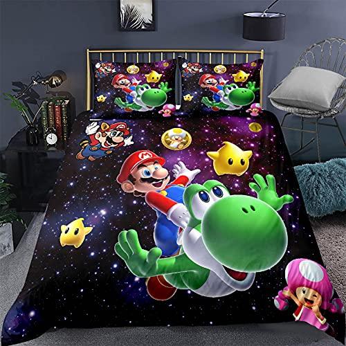 Super Mario Bros - Juego de ropa de cama infantil (135 x 200 cm, con cremallera, 1 funda nórdica y...