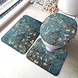ALBXSWRR Vincent Van Gogh, set di 3 tappetini da bagno con morbidi cuscinetti antiscivolo + cuscinetti sagomati + copriwater, Vincent Van Gogh Classic Art2, taglia unica