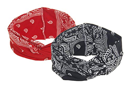 Bandana-Knoten-Stirnbänder, sortiert, Paisleymuster, Criss Cross Head Wide Wrap Haarband - - Einheitsgröße