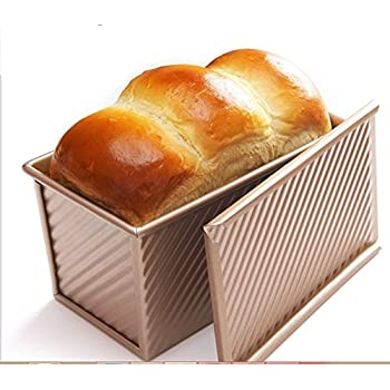 Pullman Loaf Pan w Cover Bread Toast Mold corrugated loaf Pan w lid 1lb dough Alluminum Alloy Non Stick Gold (8.5X4.75X4.375INCH)