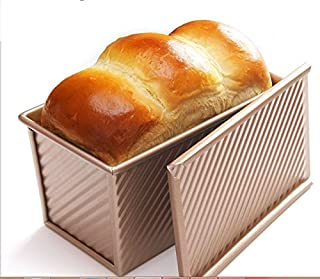 Pullman Loaf Pan w Cover Bread Toast Mold corrugated loaf Pan Non Stick Gold Aluminium Alloy (8.35X4.8X4.5INCH)