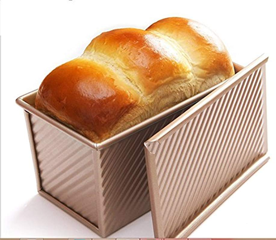Monfish Pullman Loaf Pan W Cover Bread Toast Mold Non Stick Gold Aluminium Alloy 8 35x4inch