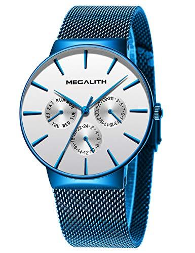 MEGALITH Herren Uhr Männer Wasserdicht Schwarz Sport Edelstahl Mesh Dünne Armbanduhren Klassische Elegant Datum Kalender Analog Quarz Kleid Blau Herrenuhr