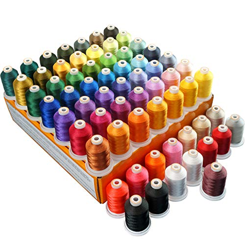 New brothread 64 Spools 1000M (1100Y) Polyester Embroidery Machine Thread Kit for Professional Embroiderer and Beginner