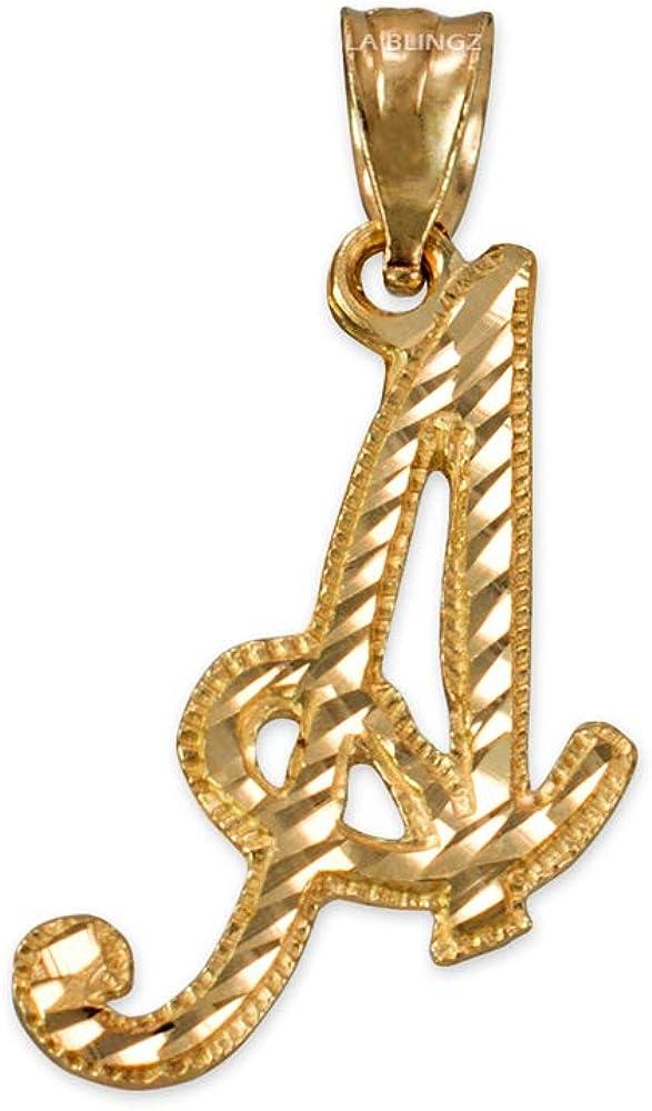 LA BLINGZ 10K Yellow Gold Sparkle-Cut Letter Initial Script Pendant