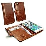 Tuff-Luv custodia/ portafogli di pelle 'Vintage' per Apple iPhone 8 (con protettore di schermo) - Marrone