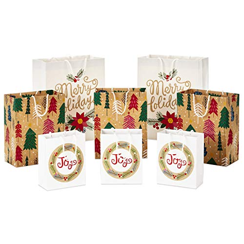 Hallmark Sustainable Holiday Gift Bags (8 Bags: 3 Small 6', 3 Medium 9', 2 Large 13') Recyclable Kraft with Pink Trees, 'Merry Holidays' Winter Flowers, 'Joy' Wreath for Christmas, Hanukkah, Weddings