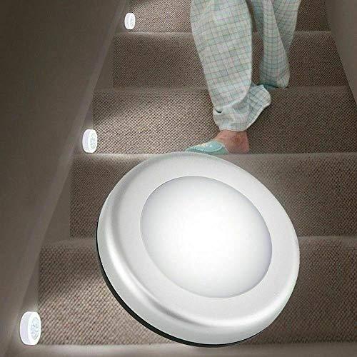 Luce notturna Riloer, 6 LED sotto l'armadio, applique da parete con sensore di movimento wireless PIR per giardino, cortile, corridoio, veranda, libreria, vetrina, armadio, guscio bianco, luce bianca