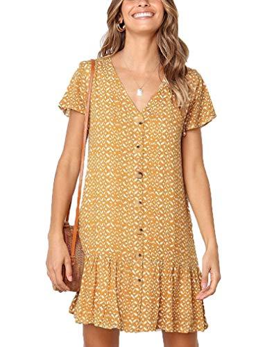 Locryz Women Casual V Neck Button Down Floral Tunic Swing Mini Dress Yellow,S