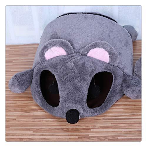 Aiglen Cama para gatos con calentamiento automático para interior, casa para perros, gatos, divertido juguete de piel de gato en forma de ratón con colchón para juego de mascotas con dos pelotas de j