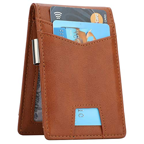 Slim Minimalist Front Pocket Wallet with Money Clip for Men, Genuine Leather RFID Blocking (Brown)