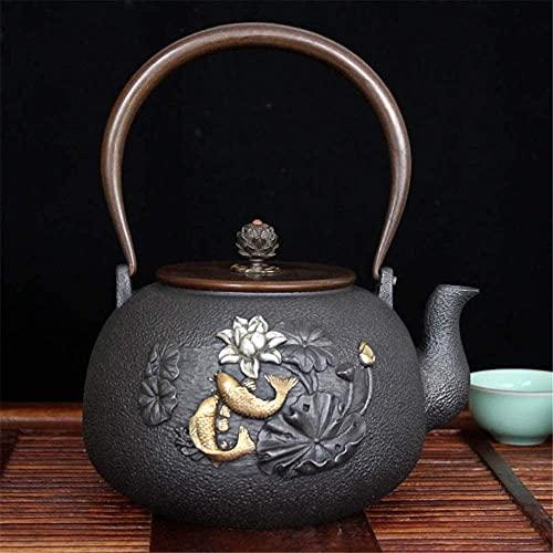 ZQADTU Tetera de hierro fundido de hierro fundido tetera de té de la salud del hogar tetera té Set de 1200 ml fiesta y amantes del té