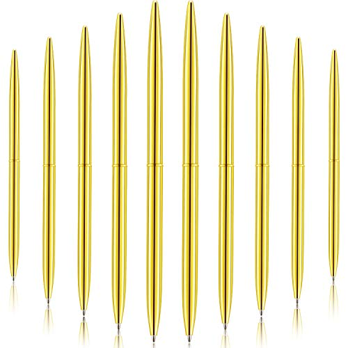 30 Pieces Ballpoint Pen Lightweight Black Ink Metal Pens Set for Business Office Supplies (Gold)