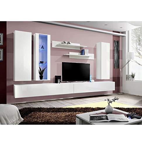 ASM Banc TV avec LED - 6 éléments - Blanc