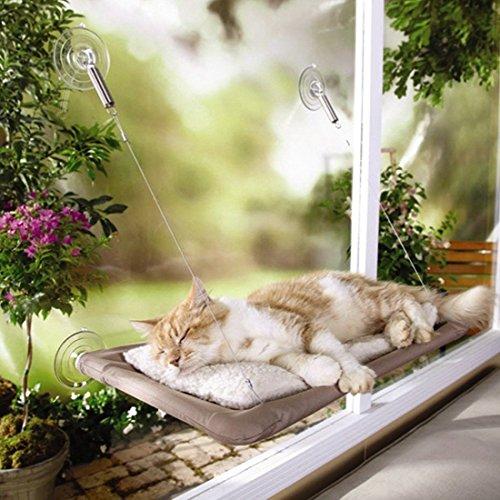 Pinji Hamaca para Gato Perca Seguro con Ventosas Durable Cama Colgante para Gatos para Ventana Suave