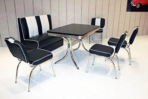 wendland-moebel.de Hausmarke Bank-Sitzgruppe American Diner Vegas King6 6tlg in schwarz schwarz