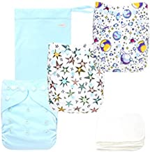 Langsprit Baby Cloth Diaper with Highly Absorbent Bamboo Inserts & Wet Bag,Reusable Unisex Baby Diapers, (Space)