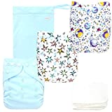 Langsprit Baby Cloth Diaper with Highly Absorbent Bamboo Inserts & Wet Bag,Reusable Unisex Baby Diapers (Space)