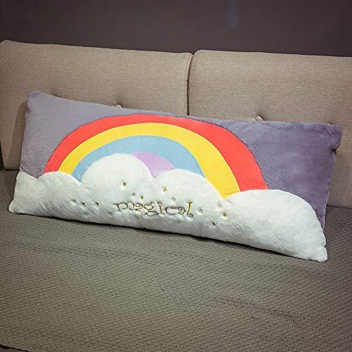 HGGF Cojín de peluche con diseño de nube de arco iris, para sofá, para niños, niñas, regalo de cumpleaños (60 x 40 cm, color morado)