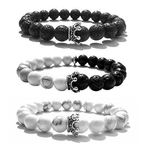 SIVITE Crown Lava Rock Howlite Beads Bracelet Essential Oil Diffuser Friends Couples Distance Bracelets