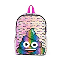 Fab NY Emoji Rainbow Poo 16 inch Backpack with Side Mesh Pockets