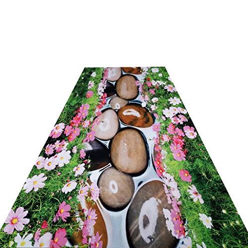 VMVM Alfombras Pasillo Largas, Patrón De Flores Y Piedras En 3D Alfombra del Pasillo, Lavable/No Daña El Piso/Se Puede Cortar Libremente, Se USA En La Cocina/Escaleras,80X500CM