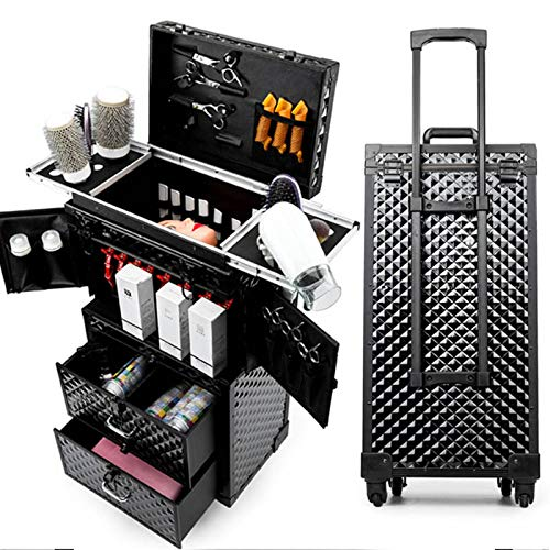 XXLHH Women Cosmetic case, Rolling Luggage bag,Nails Makeup Toolbox,Dresser Multi-layer Beauty Tattoo Trolley Suitcase