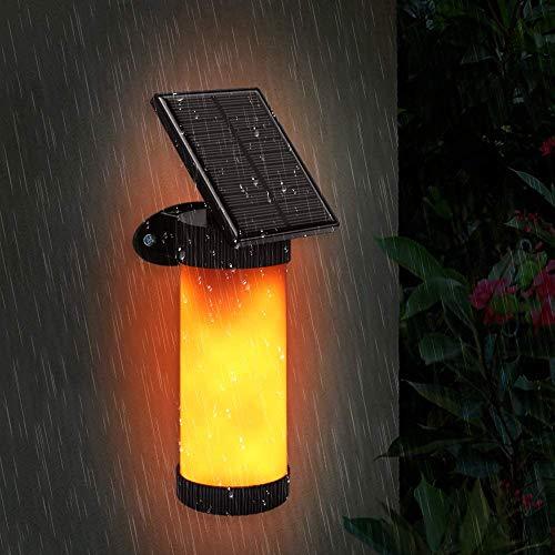 Aplique exterior solar, lámpara solar llama 102LED Jardín impermeable IPX5Luminaire con llama Danzante luces solares inteligentes, exterior, camino, camino, Patio (1Pack)
