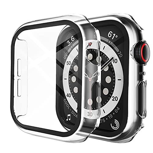 LK Hard Hülle Mit Panzerglas Kompatibel mit Apple Watch Series 6 / SE/Serie 5 / Series 4 40mm, 2-Stück,Transparent