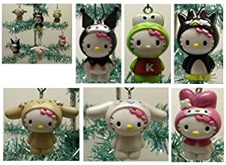 Hello Kitty Set of 6 Holiday Christmas Tree Ornaments Featuring Hello Kitty Dressed as My Melody, Keroppi, Kuromi, Bradte-Maru, Cinnamaroll, and Chibimaru