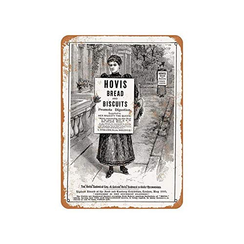 Uptell Metal Sign Tin Vintage Hovis Bread and Biscuits Indoor Bar Man Cave Club Art Drinking Funny Office 8x12inches