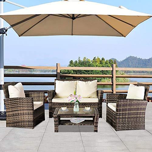 Sofá de ratán de jardín conjunto de muebles de exterior Combinación Paquete de cuatro piezas...