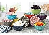Signature Housewares Juego de 10 cuencos de gres para arroz, aperitivos, guarniciones, helados, frutas y lavavajillas y microondas, 11 oz (porcelana, 10.5 x 7.4 x 5.5 pulgadas)