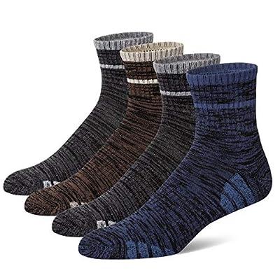 u&i Men's Cushion Cotton Mid Cut Quarter Athletic Socks, Multicolor (4-Pack)