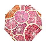 SAMAU 折りたたみ傘 自動開閉 レモン柄 レッド 軽量 レディース 晴雨兼用 UVカット 丈夫 グラスファイバー 梅雨対策 収納ポーチ付き