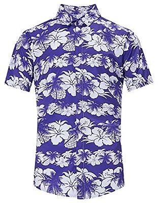 TUONROAD Men's 3D Floral Printed Hawaiian Beach Short Sleeve Button Down Shirt