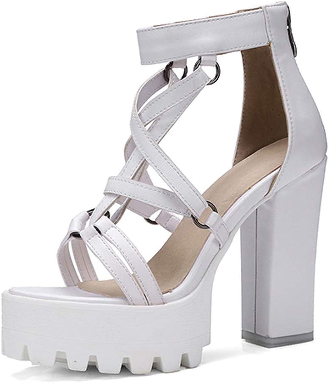 GAO-GEN1 Woman Platform Sandals Summer Open Toe High Heels Female Zipper Leather shoes Ladies