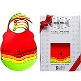 Paquete de 4 Babero Silicona Bebé Colección Rainbow - Baberos Impermeables - Baberos Bebé, Baberos Recién Nacido - Precioso Regalo Para Bebés - Apto Para Lavavajillas - Para Viajar - Flexible