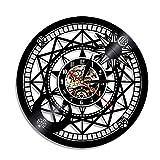 Fryymq (12 Pulgadas con LED) Reloj de Vinilo artístico de astronomía, decoración de Pared, binoculares, telescopio, Regalo Retro, Reloj de Arte Colgante