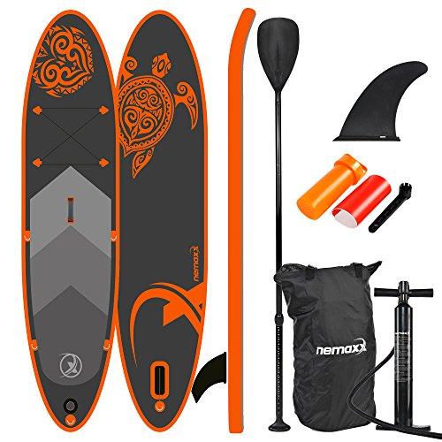 Nemaxx PB300 Tabla de Paddle Surf Sup 300x76x15cm, Naranja/Antracita - Tabla de Paddle Board - Tabla de Surf - Hinchable con Mochila, remos, Aletas, Bomba de Aire, Kit de reparación
