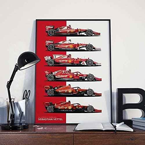 Sebastian Vettel F1 Scuderia Ferrari Formula 1 Cars, 2015-2020 F1 Poster Canvas Prints Imagen Arte de la Pared Pintura...