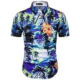 Honghu Verano Ocio Casual Manga Corta Camisa para Hombre Hawaiana Impresión Shirts Tamaño M...